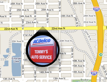 Map to Tommy's Auto Service in St. Petersburg, FL
